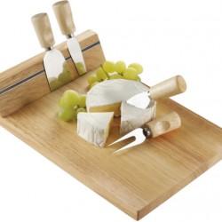 Conjunto de 4 utensílios para cortar queijos com tábua de madeira e faixa magnética