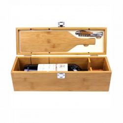 Conjunto de vinho em caixa de bambu para 1 garrafa com 2 acessórios